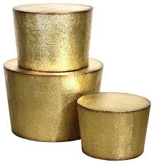 Desta Metal Accent Tables, Gold, Set Of 3 Contemporary Coffee Table