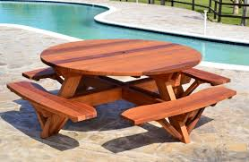 furniture wood picnic table top appealing round wooden picnic table with attached benches of wood top styles and for kids concept