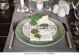 Personal Seating Chart On Dinner Party Stock Photo Edit Now