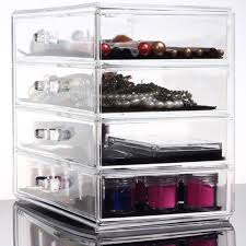 4 layers clear cosmetic drawers jewelry makeup storage display organizer box make up case conner stand