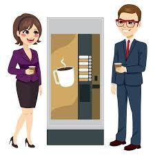 Vending Machine Attendant Adorable Two Beautiful Young Business Woman Team Having Coffee From Vending