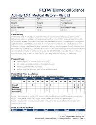 Peak Flow Reading Chart Activity 3 3 1 Medical History Visit 2