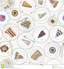Bakery Cakes Pastries Linear Seamless Pattern Sweet Elements