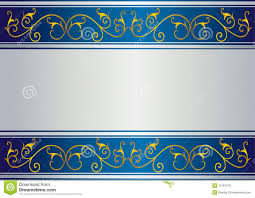 Blue And Gold Design Blue Card With Floral Gold Design Stock Vector