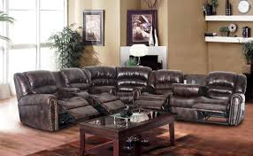 Living Room With Sectional Sofa Comfortable Leather Sectional Sofa With Recliner And Chaise