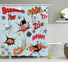 warm tour comic book explosion expression thoughts cartoon shower curtain polyester curtain hospital hotel 72