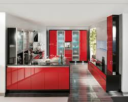 Red Gloss Kitchen Cabinets Latex And High Gloss Kitchen Cabinets