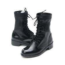 mens punk goth round toe black cow leather rubber sole side zip ankle combat boots us 5 5 11 5