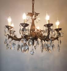 8 arm aged brass crystal chandelier rewired c 1900 1 of 15