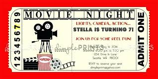 Birthday Invitation Design Templates Amazing Vintage Movie Ticket Printable Birthday Invite Party Invitation