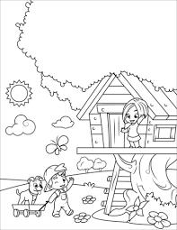 Disegno Di Ragazzo E Ragazza Giocano Nella Casa Sullalbero Da