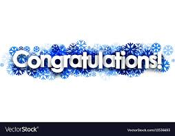Congratulations Banner With Blue Snowflakes
