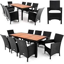 poly rattan garden furniture dining table set 8 seater acacia wood table plate 7cm