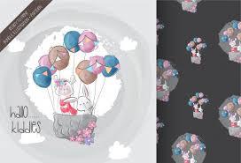 <b>Cute</b> bunny, llamas with <b>air balloon cute animal</b> seamless pattern ...