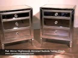 Mirrored bedside furniture White Gloss Pair Mirror Nightstands Mirrored Bedside Tables Chests Youtube Pair Mirror Nightstands Mirrored Bedside Tables Chests Youtube
