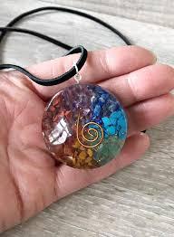 orgone crystal chakra round pendant