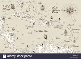 Old Map Of The Caribbean Sea Vector Illustration Template