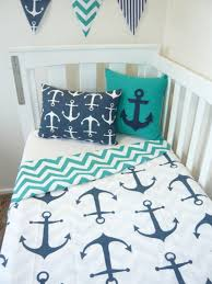 white with navy anchor cot quilt choose