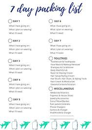 7 Day Packing List In 2019 Packing List For Travel