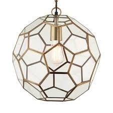 miele 1 hexagonal glass pendant light in antique brass