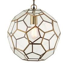 miele 1 hexagonal glass pendant light in antique brass