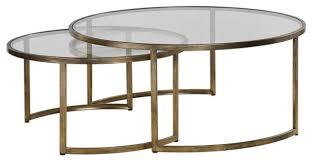 set of 2 bronze gold nesting coffee tables round large modern minimalist