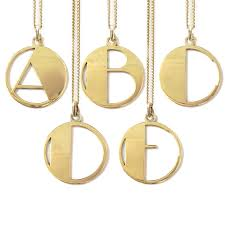 gold plated deco initial pendant necklace