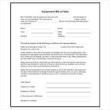 Free 7 Sample Equipment Bill Of Sale Forms Pdf
