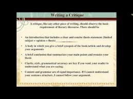 how to write a critique how to write a critique