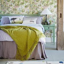 zones bedroom wallpaper: bedroom wallpaper ideas country bedroom with pastel bedlinen and floral wallpaper