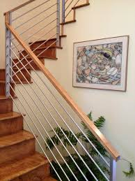 Wood and metal handrail contemporary-staircase
