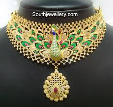 cz stones peacock necklace 22 carat gold award winning peacock theme necklace studded with cz stones