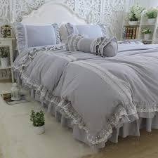 top luxury bedding set light grey embroidery ruffle lace duvet cover bed sheet bedspread princess bed linen queen pillowcase zebra print bedding tropical