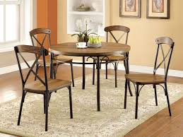industrial dining room table and chairs. Round Industrial Wooden Bronze Dining Table Set | Versatile Room And Chairs S