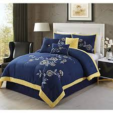 blue and yellow bedding. Contemporary And 7 Piece King Luxurious Navy Comforter Set Stylish U0026 High Class Bedding  Embroidered Floral Intended Blue And Yellow Bedding W