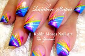 Nail Art Striping Tutorial | Rainbow Stripe Tips Nails Design ...