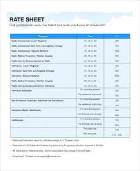rate comparison format in excel rate sheet template 14 free word excel pdf document download