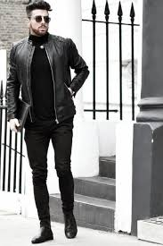 man with cool all black outfits leather jacket and black pants