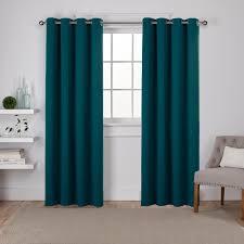 sateen sapphire teal twill weave blackout grommet top window curtain