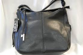 mc handbags 1265 tianna black faux leather hobo bag
