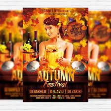 autumn festival premium flyer template facebook cover