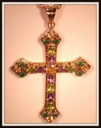 nicky butler multigemstone bronze cross pendant with chain ret 139 hsn 1787726043