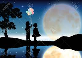 the and boy looked beautiful moonlight vector ilrations stock vector 60200184