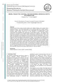 Geothermal Borehole Design Pdf Model Predictive Control For Geothermal Borehole Depth