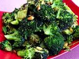 broccoli roasted with garlic  chipotle peppers and pine nuts