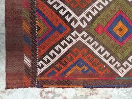 cobalt blue and fiery orange small traditional vintage turkish rug handmade tribal yastik mat 100