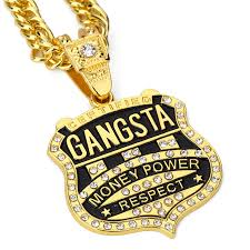 2pcs lot gangsta pendant men necklace hip hop jewelry gold color rock hiphop rappers