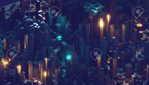 3d Light Render Render Hologram Futuristic 3d City Neon Light 3d Rendering