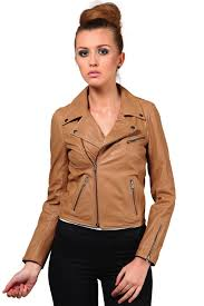 leather jacket in tan color for women jkf1362