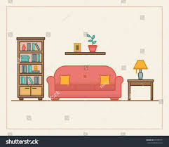 stock vector living room with furniture in linear style flat line style vector illustration